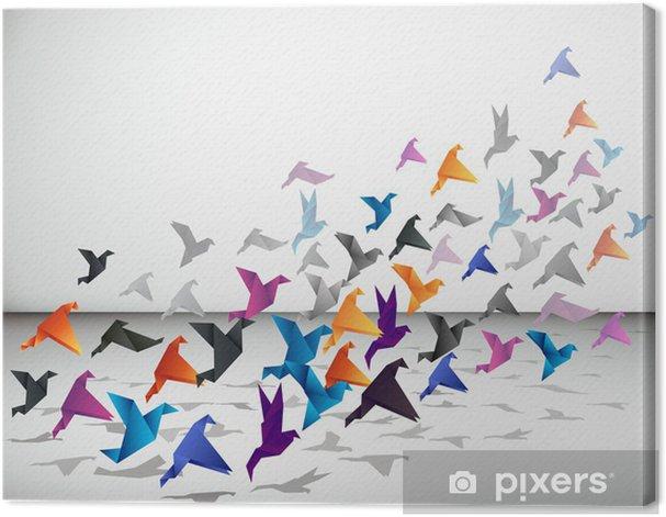 Tableau sur toile Vol intérieur, les oiseaux commencent à voler Origami dans l'espace fermé. - Styles