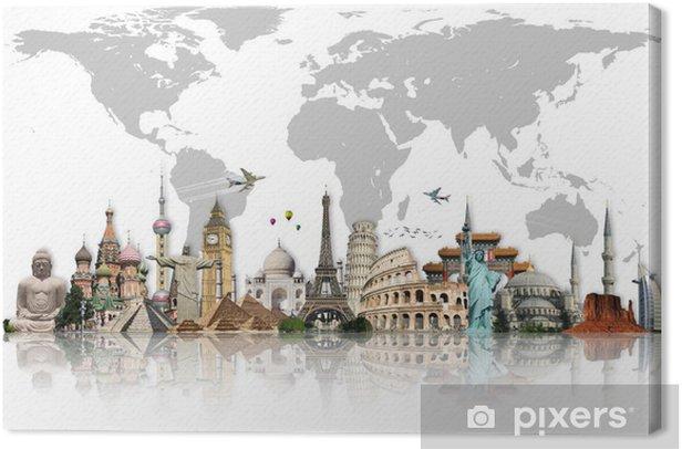 Tableau sur toile Voyage dans le concept de monde monuments - Pour salon
