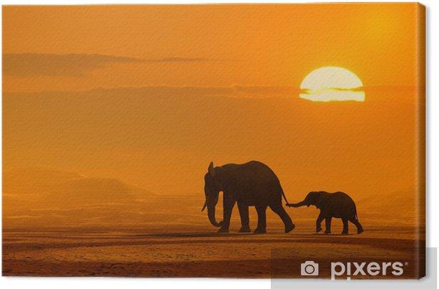 Tableau sur toile Voyage de elaphants - Afrique