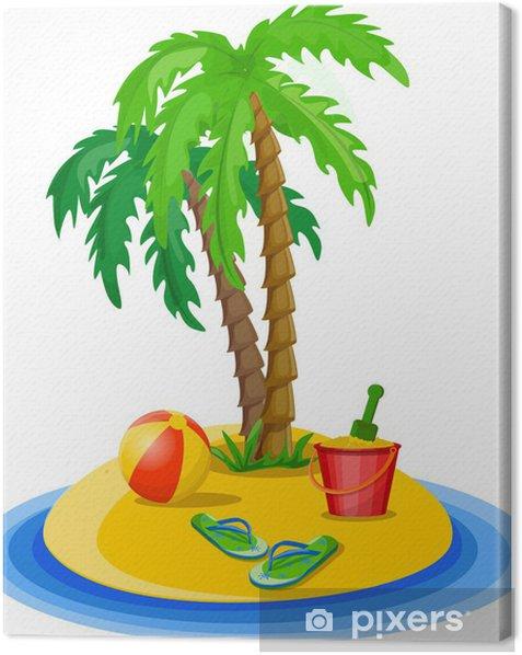 Tableau sur toile Voyage fond de palmiers, un seau, la balle - Vacances