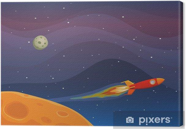 Tableau sur toile Voyage vaisseau spatial dans l'espace -