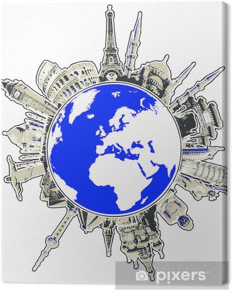 Tableau sur toile Voyagez à travers le concept de vecteur de monuments du monde - Vacances