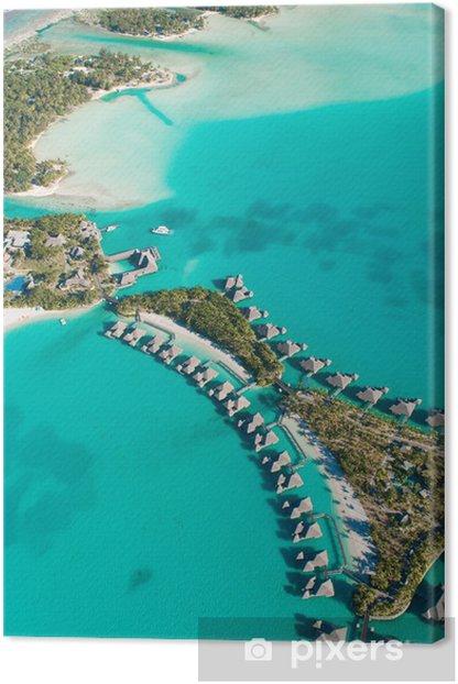 Tableau sur toile Vue aérienne de bungalows à Tahiti - Vacances