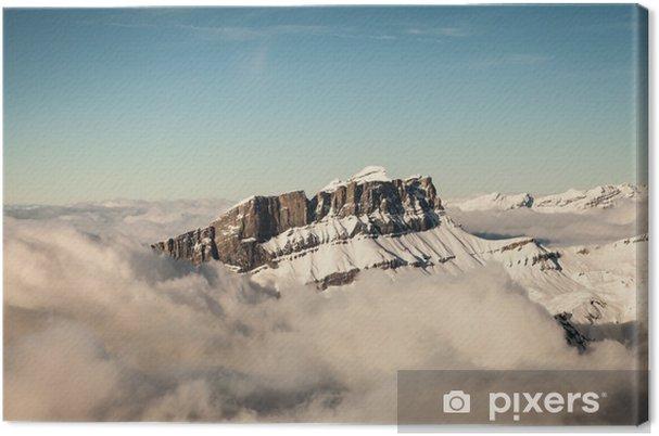Tableau sur toile Vue aérienne des Alpes françaises - Europe