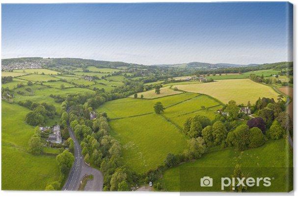 Tableau sur toile , Vue aérienne rural idyllique, Cotswolds UK - Saisons