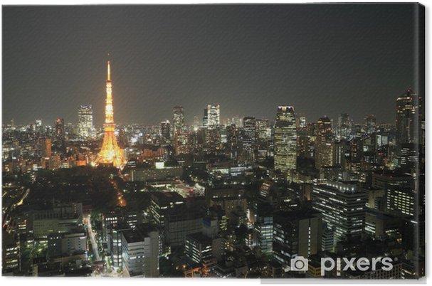 Tableau sur toile Vue de dessus de Tokyo paysage urbain de nuit - Autres