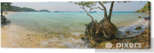 Tableau sur toile Vue de l'île paradisiaque de port avec du sable blanc - Vacances
