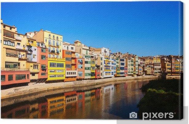 Tableau sur toile Vue de la rivière Onyar et maisons à Girona - Thèmes