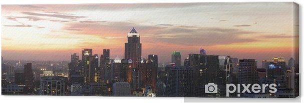 Tableau sur toile Vue de nuit de Bangkok de la zone Asok - Paysages urbains