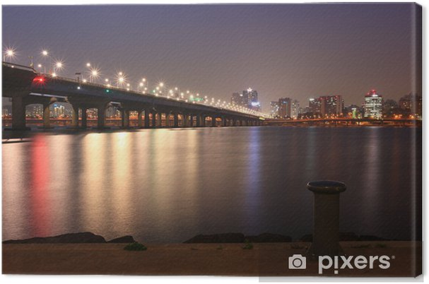 Tableau sur toile Vue de nuit de la ville de Séoul par le fleuve Han - Thèmes