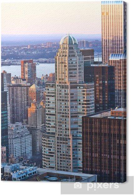 Tableau sur toile Vue Paysage urbain de Manhattan au coucher du soleil - Villes américaines
