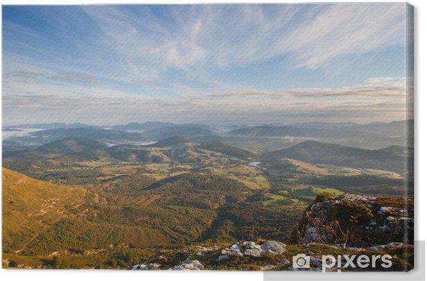 Tableau sur toile Vue sur la vallée au lever du soleil depuis le sommet de la montagne - Campagne