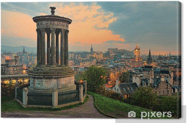 Tableau sur toile Vue sur le centre historique d'Edimbourg en Ecosse au coucher du soleil - Thèmes