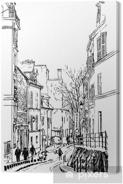 Tableau sur toile Vue sur Montmartre à Paris sous la neige - Monuments