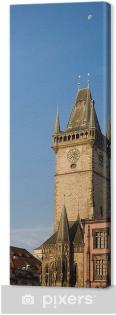 Tableau sur toile Vue tôt le matin à Old Town Hall tour avec lune. - Villes européennes
