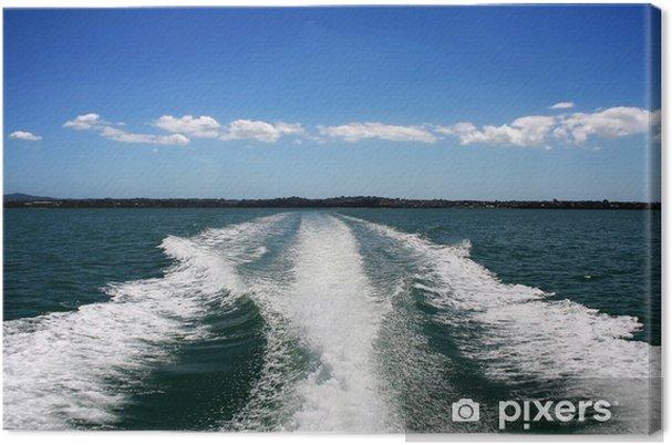Tableau sur toile Wake bateau sur l'océan vert - Bateaux