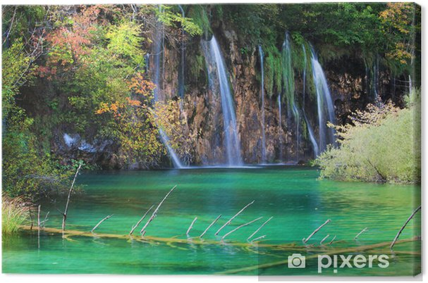 Tableau sur toile Waterfall Scenic à l'automne - Europe