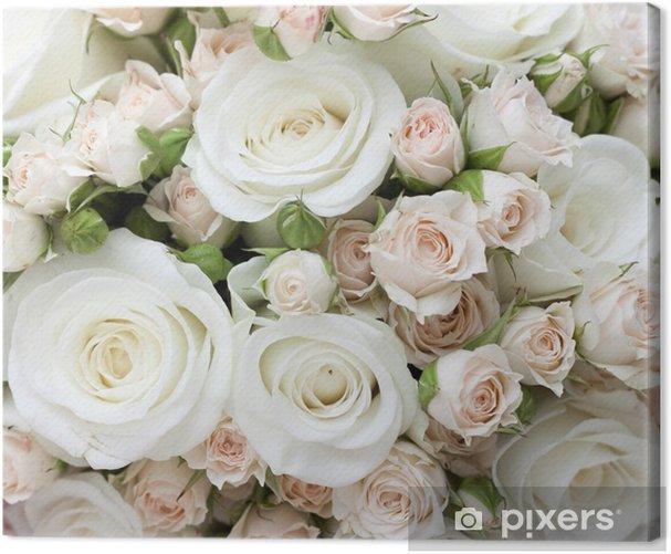 Tableau sur toile Wedding bouquet de roses blanches pinkand - Thèmes