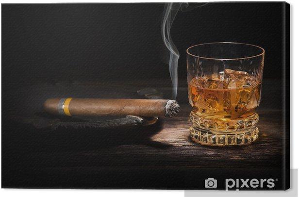 Tableau sur toile Whisky et de cigares - Alcool