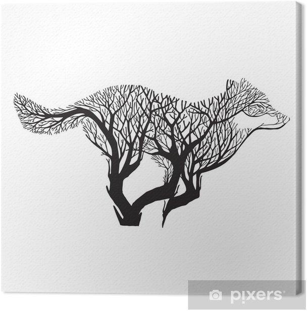 Tableau sur toile Wolf Run silhouette à double mélange d'exposition vecteur dessin de l'arbre de tatouage - Animaux