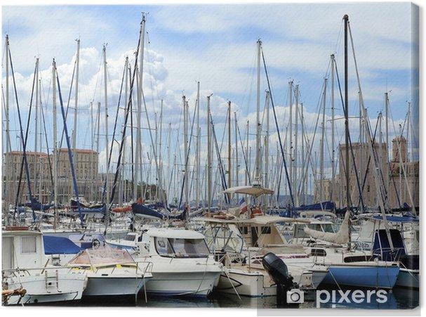 Tableau sur toile Yachts dans le port - Bateaux