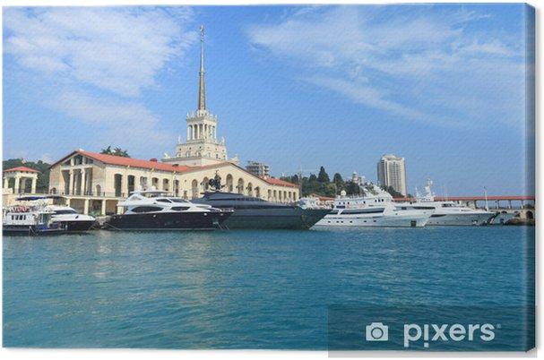 Tableau sur toile Yachts sur incursion dans le port de Sotchi - Bateaux