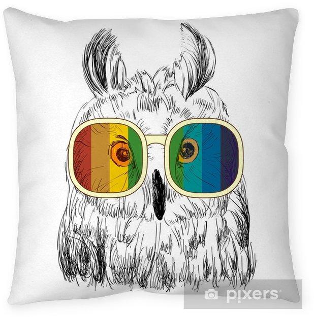 Taie d'oreiller Croquis de vecteur de hiboux avec des lunettes. illustration rétro - Animaux