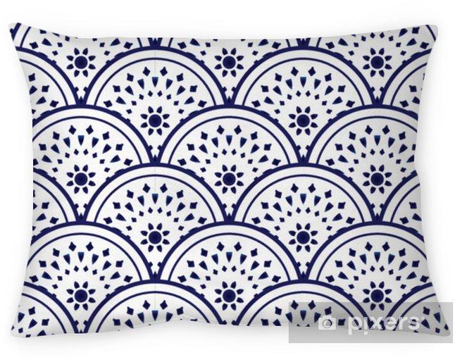 Taie d'oreiller Modèle en céramique bleu et blanc - Ressources graphiques