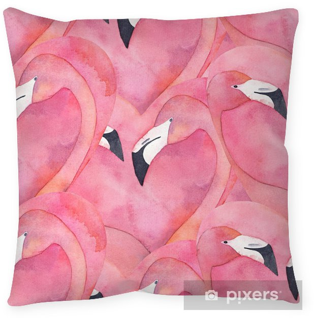Taie d'oreiller Modèle sans couture avec couple aquarelle rose flamingo en forme de coeur - Ressources graphiques