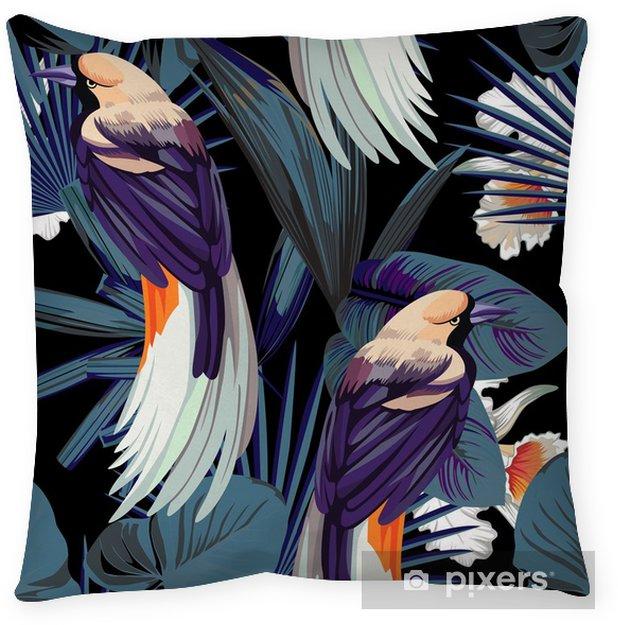 Taie d'oreiller Oiseaux, orchidées et nuit jungle fond transparent - Animaux