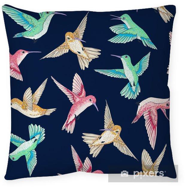 Taie d'oreiller Seamless vecteur voler petits oiseaux de paradis modèle conversationnel multi couleur, le temps du printemps d'été, doux romantique colibri, fond colibri allover conception d'impression - Animaux
