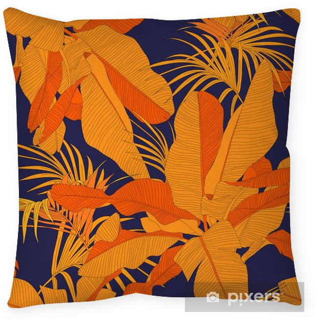 Taie d'oreiller Trendy tissu tropical seamless, paume feuilles rouges sur fond bleu marine, illustration vectorielle - Ressources graphiques
