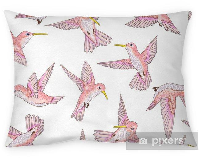 Taie d'oreiller Vecteur transparente battant petit modèle de conversation des oiseaux de paradis, printemps été, doux colibri romantique, colibri fond allover impression design - Animaux