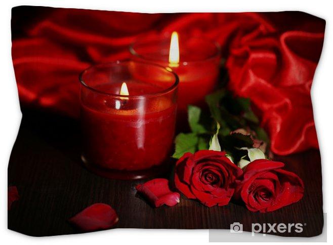 Taie D Oreiller Decorative Belle Bougie Rouge Romantique Avec Des