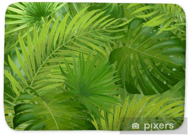 Tapis De Bain Feuilles De Palmiers Tropicaux Jungle Feuille