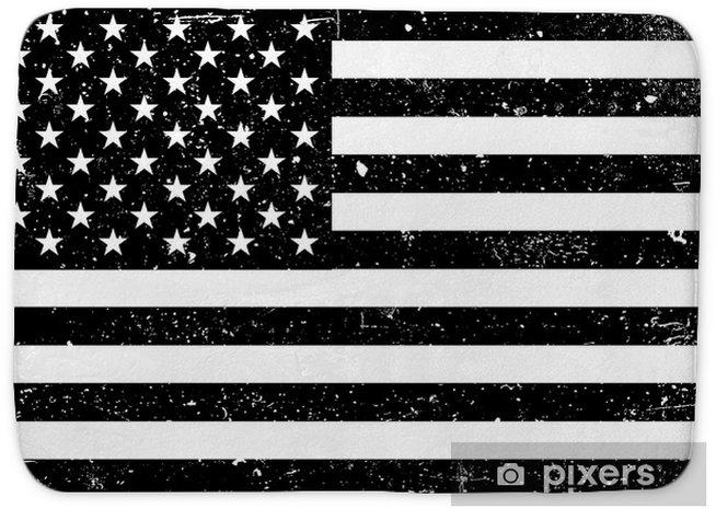Tapis de bain Monochrome grunge drapeau des États-Unis d'Amérique. illustration vectorielle noir et blanc avec texture grunge. - Ressources graphiques