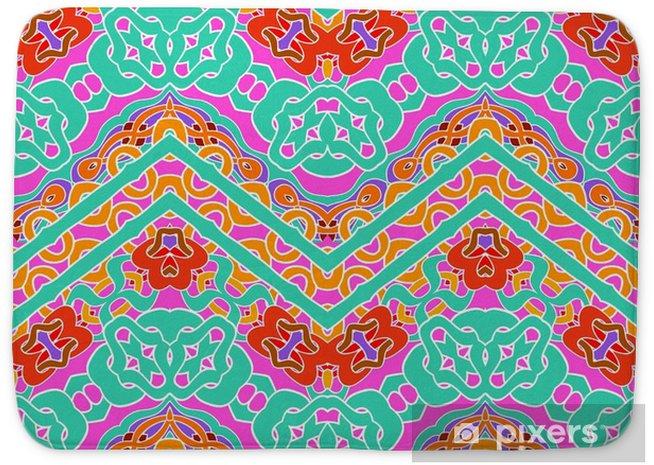 Tapis de bain Motif multicolore avec des lignes zigzag ornementales - Ressources graphiques