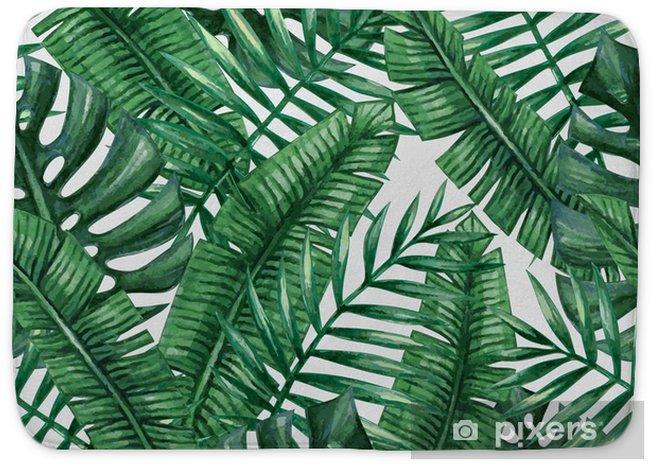 Tapis De Bain Paume Tropical Aquarelle Feuilles Seamless Pattern