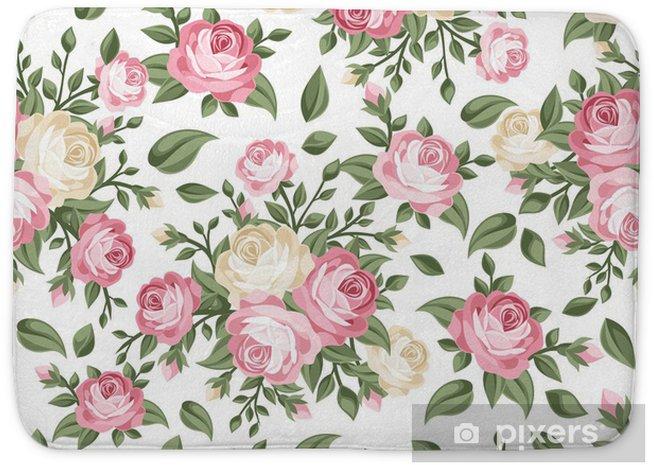 Tapis de bain Seamless avec des roses roses et blanches. Vector illustration. - Thèmes