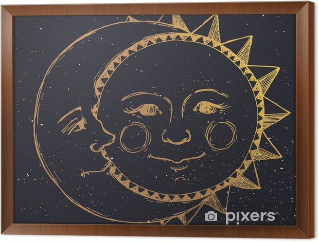 Tavla i Ram Handritad sol med måne - Grafiska resurser