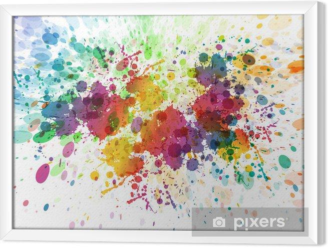 Tavla i Ram Raster version av abstrakt färgrik plaska bakgrund - Hobby och fritid