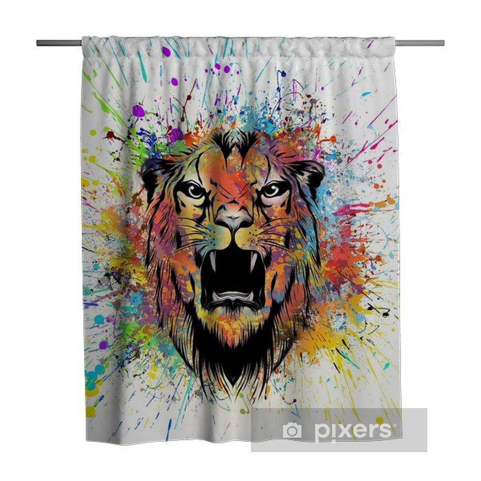 Tenda da doccia Красочные иллюстрации головы тигра на абстрактном фоне - Risorse Grafiche