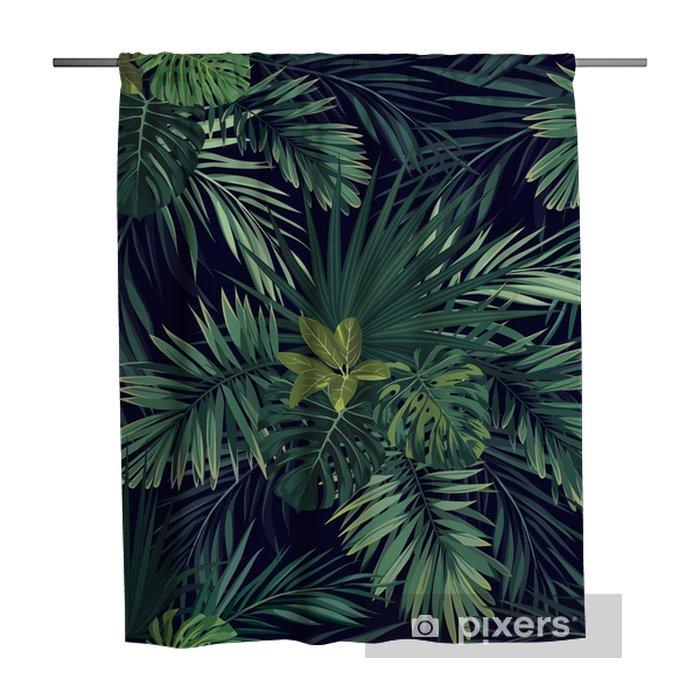 Tenda da doccia Modello di vettore esotico botanico disegnato a mano senza cuciture con foglie di palma verde su sfondo scuro. - Piante & Fiori