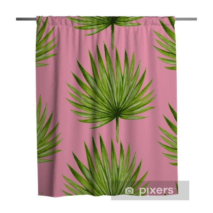 Tenda da doccia Modello senza cuciture delle foglie di palma tropicale dell'acquerello. illustrazione vettoriale. - Risorse Grafiche