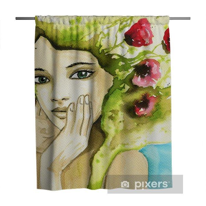 Tenda da doccia Ritratto ad acquerello di una donna. - Persone