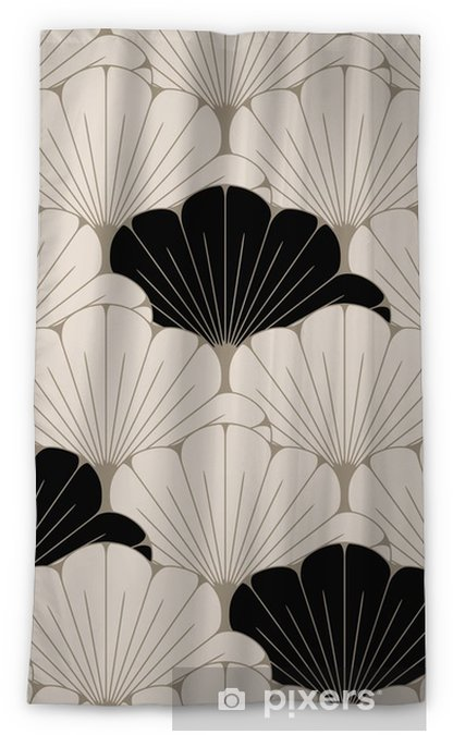 Tenda oscurante per finestre Una piastrella senza soluzione di continuità in stile giapponese con motivo di foglie esotiche in morbido marrone e nero - Risorse Grafiche