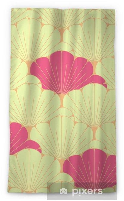 Tenda oscurante per finestre Una piastrella senza soluzione di stile giapponese con motivo di foglie esotiche in rosa - Risorse Grafiche