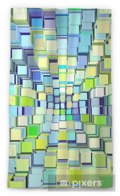 Tenda trasparente per finestre 3d modello astratto frammentato in blu verde giallo -
