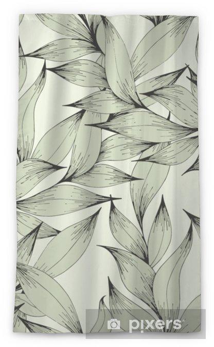 Tenda trasparente per finestre Vector seamless con rami e foglie. disegno a mano. motivo decorativo per il design - Piante & Fiori