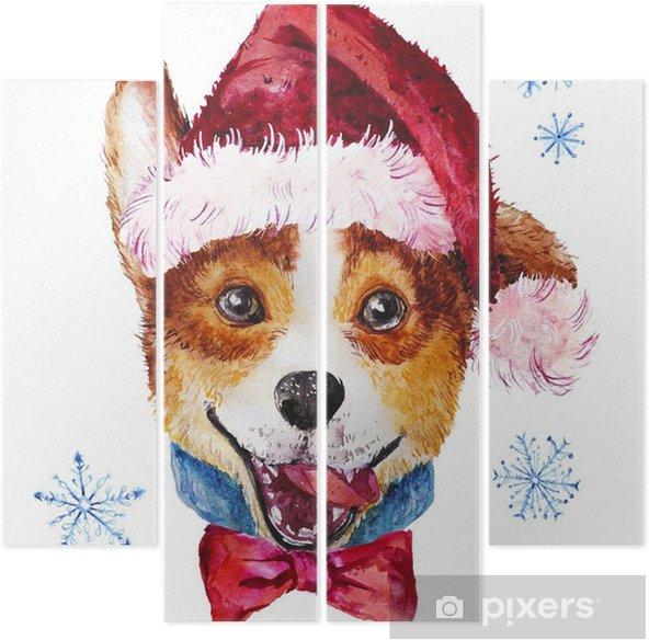 Tetraptych Akvarel Umelecky Vanocni Pes V Klobouku Portret
